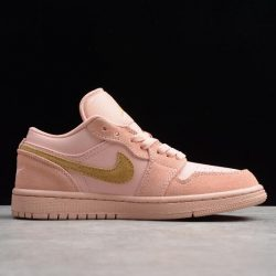 Air Jordan 1 Low Coral Stardust Club Gold Shoes Best Price3