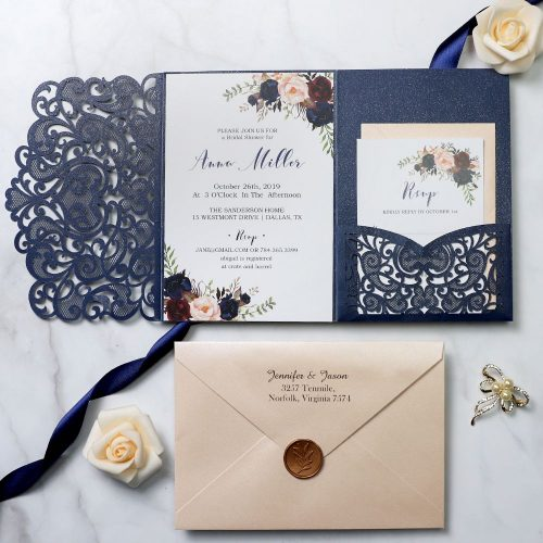 Cheap navy wedding invites